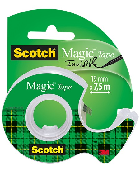 Matinė lipni juostelė su laikikliu SCOTCH MAGIC INVISIBLE, 19 mm x 7,5 m