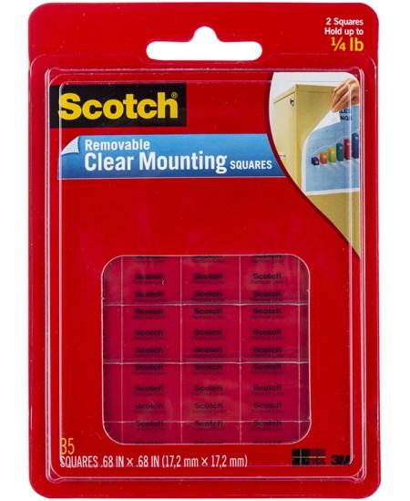 Montavimo kvadratėliai SCOTCH®, dvipusiai, skaidrūs, nuimami, 17 x 17 mm, 35vnt.