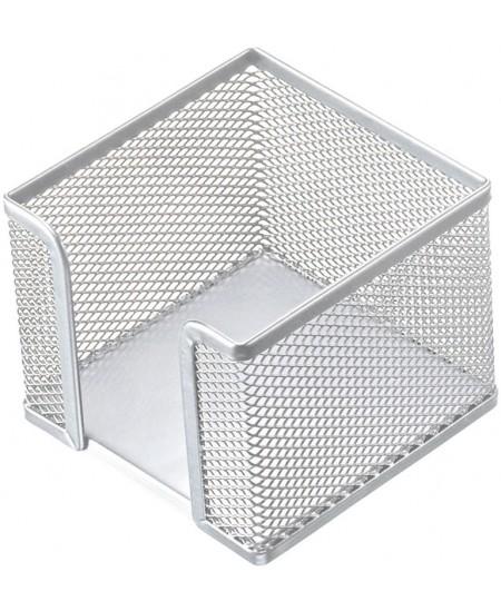 Dėžutė užrašų lapeliams, metalinė, sidabrinė