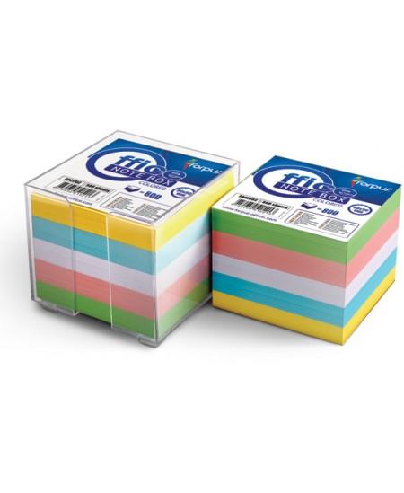 Lapeliai užrašams dėžutėje FORPUS, 90x90 mm, spalvoti, 800 lapelių