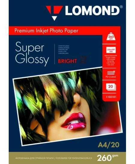 Fotopopierius LOMOND Premium, 260 g/m2, A4, itin blizgus, 20 lapų