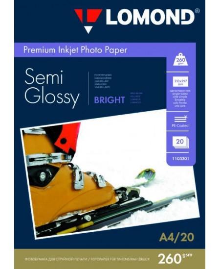 Fotopopierius LOMOND Premium, 260 g/m2, A4, pusiau blizgus, 20 lapų