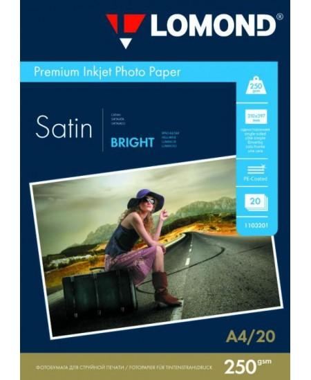 Fotopopierius LOMOND Premium, 250 g/m2, A4, šviesus atlasinis, 20 lapų