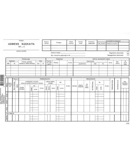 Asmens sąskaita, A4, horizontali, kartoninė, 25 lapai