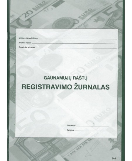 Gaunamų raštų registravimo žurnalas, A4, vertikalus, 40 lapų
