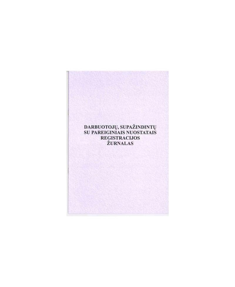Darbuotojų supažindintų su pareigybiniais nuostatais registravimo žurnalas