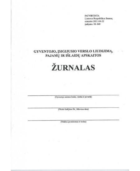 Gyventojo, įsigijusio verslo liudijimą, pajamų ir išlaidų apskaitos žurnalas, A5, vertikalus, 36 lapai