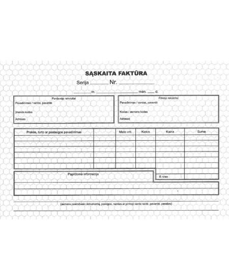Sąskaita faktūra (be numeracijos), A5, savekopijuojanti, 2x50 lapų