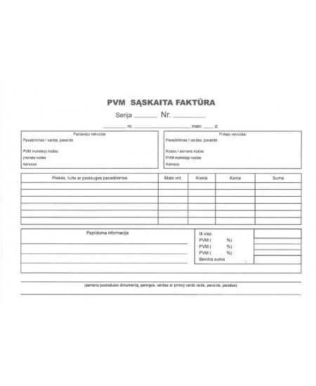 PVM sąskaita faktūra (be numeracijos), A5, savekopijuojanti, 2x50 lapų