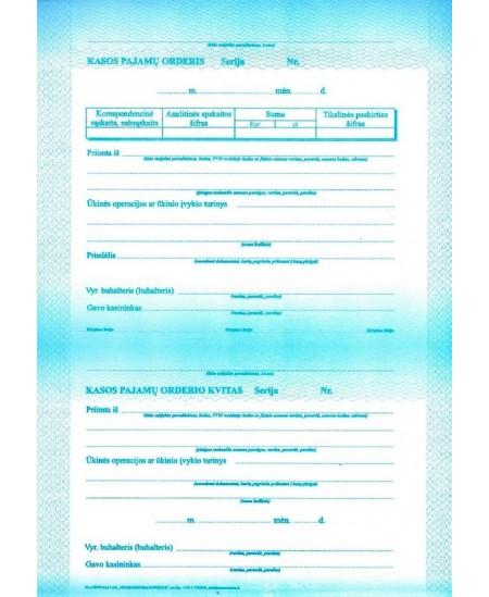 Kasos pajamų orderis, A4, 50 lapų