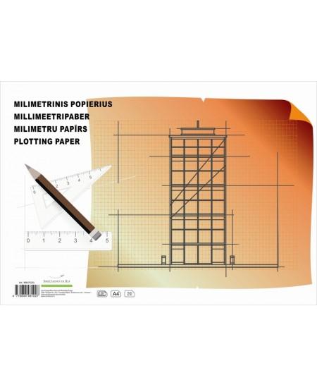 Milimetrinis popierius, A4, 20 lapų