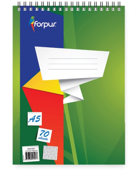 Bloknotas FORPUS, A5, 70 lapų, linijomis, su spirale viršuje