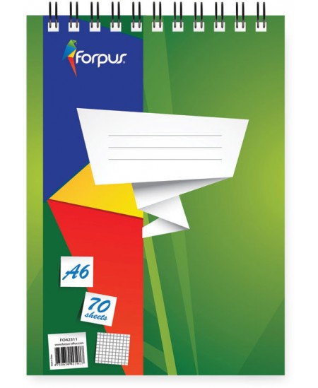 Bloknotas FORPUS, A6, 70 lapų, su spirale viršuje