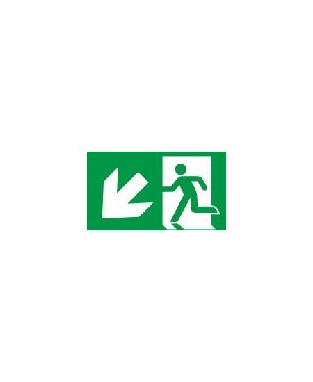 """Evakuacinis saugos ženklas \""""Išėjimas žemyn į kairę\"""""""