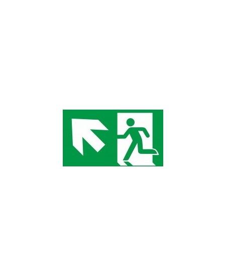 """Evakuacinis saugos ženklas \""""Išėjimas aukštyn į kairę\"""""""