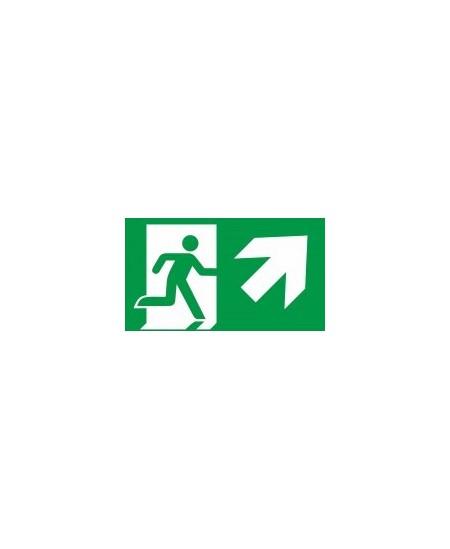 """Evakuacinis saugos ženklas \""""Išėjimas aukštyn į dešinę\"""""""