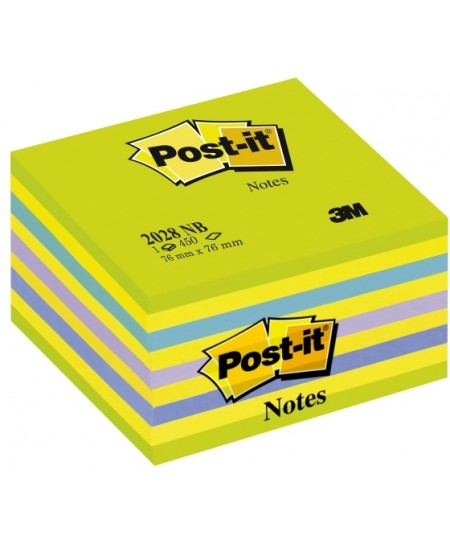 Lipnių lapelių kubas Post-it® Neon Green&Blue, 76x76 mm, 450 lapelių