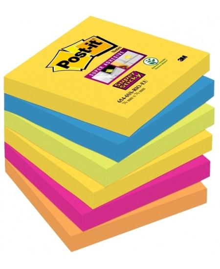 Itin lipnių lapelių kubas Post-it® SUPER STICKY RIO DE JANEIRO, 76x76 mm, 450 lapelių