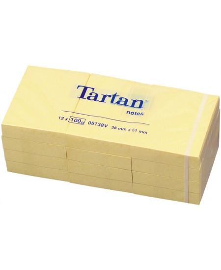 Lipnūs lapeliai TARTAN, 51x38 mm, 1200 lapelių, geltoni