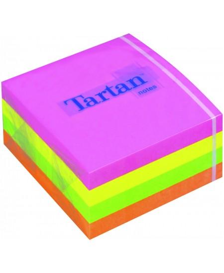 Lipnių lapelių kubas TARTAN, 76x76 mm, 400 lapelių, neoniniai spalvoti