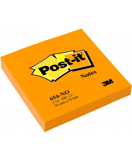 Lipnūs lapeliai Post-it® NEON, 76x76 mm, 100 lapelių, oranžiniai