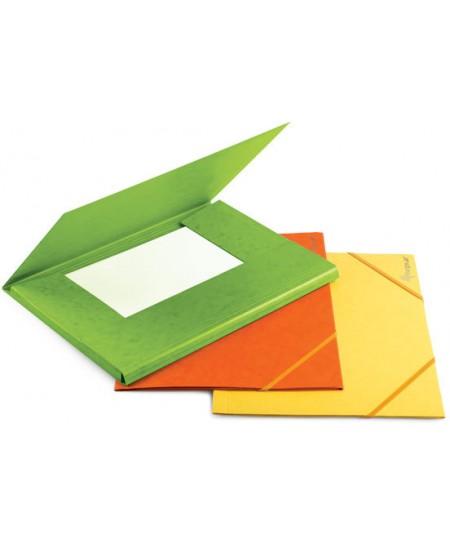 Aplankas su guma FORPUS, kartoninis, A4, geltonas