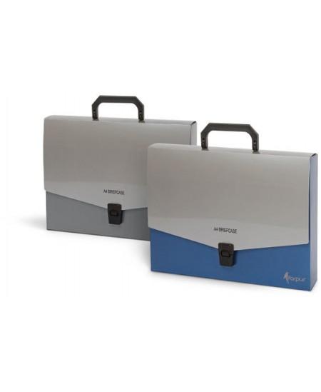 Dėklas - rankinė FORPUS, A4, pilka-mėlyna