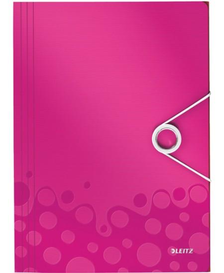 Aplankas su guma LEITZ WOW, plastikinis, A4, rožinis