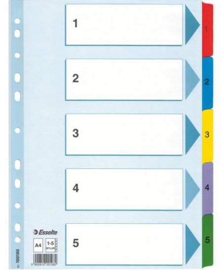 Skiriamieji lapai ESSELTE, 1-5, A4, 5 spalvos