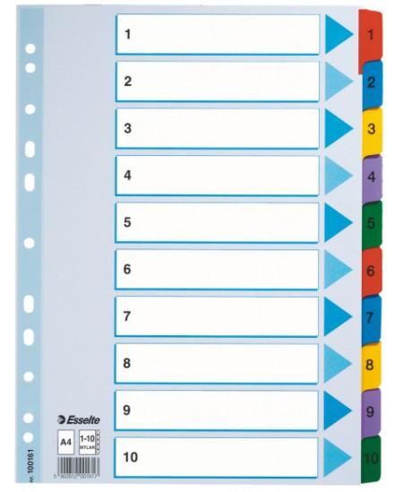 Skiriamieji lapai ESSELTE, 1-10, A4, 10 spalvų