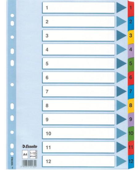 Skiriamieji lapai ESSELTE, 1-12, A4, 12 spalvų