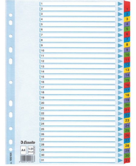 Skiriamieji lapai ESSELTE, 1-31, A4, 31 spalva