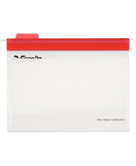 Kartotekiniai vokai ESSELTE Easyview, plastikiniai, raudoni, 10 vnt.