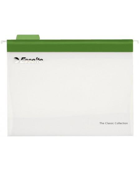 Kartotekiniai vokai ESSELTE Easyview, plastikiniai, žali, 10 vnt.