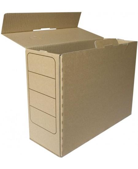 Archyvinė dėžė SM-LT, 320x245x120 mm, gofro kartono, su spauda, ruda