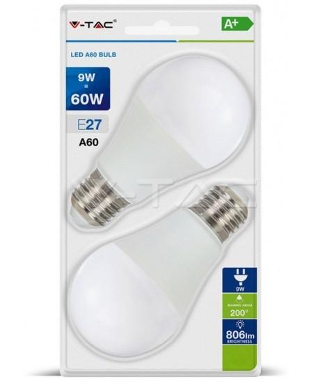 Šviesos diodų (LED) elektros lemputė, E27, 9W, 3000K, burbulo formos