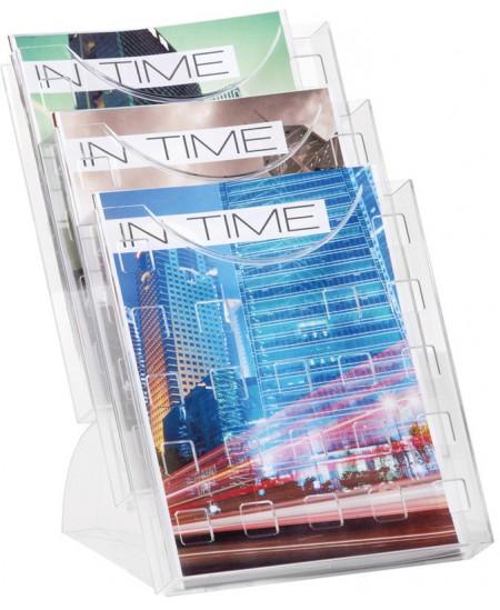 Stalo dėklas brošiūroms HELIT, 240x300x330mm, 3 skyrių, skaidrus