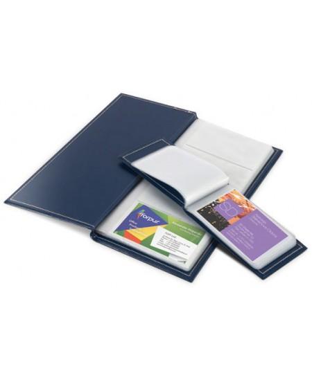 Vizitinių kortelių albumas FORPUS, 112kortelių, PVC, tamsiai mėlynas
