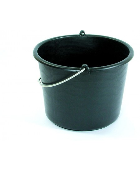 Kibiras su metaline rankena, apvalus, 10 L, juodas