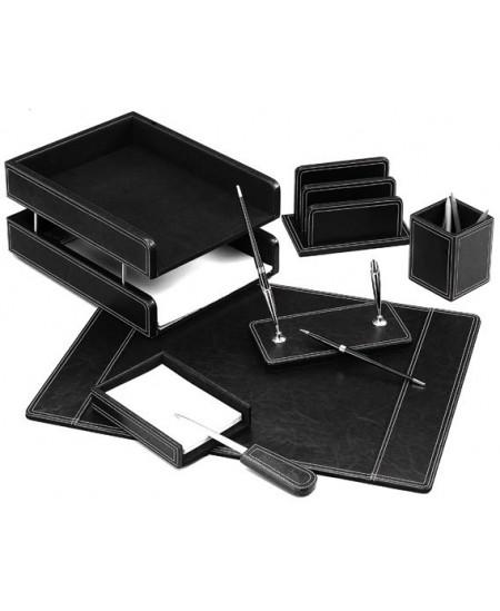 Darbo stalo rinkinys FORPUS, odinis,7-ių dalių, juodas
