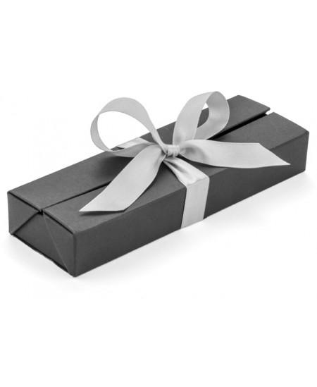 Prabangi dėžutė rašikliui su kaspinu, 1-2 rašymo priemonėms, juoda/sidabrinė