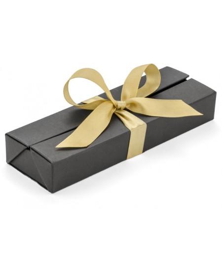 Prabangi dėžutė rašikliui su kaspinu, 1-2 rašymo priemonėms, juoda/auksinė