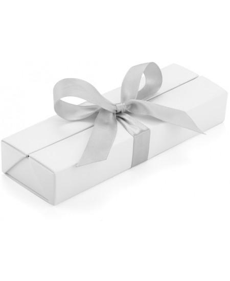 Prabangi dėžutė rašikliui su kaspinu, 1-2 rašymo priemonėms, balta/sidabrinė