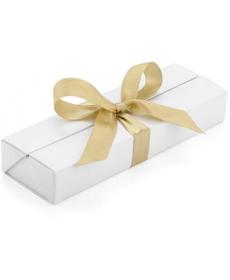 Prabangi dėžutė rašikliui su kaspinu, 1-2 rašymo priemonėms, balta/auksinė