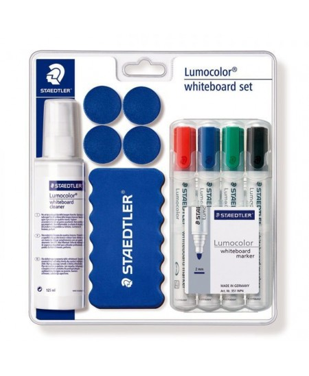 Rinkinys baltai lentai STAEDTLER Lumocolor 613: 4 spalvų žymekliai, kempinėlė, valiklis, 4 magnetukai
