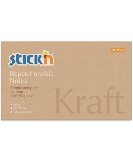 Lipnūs lapeliai SRTICK´N Kraft, 76x127 mm, 100 lapelių