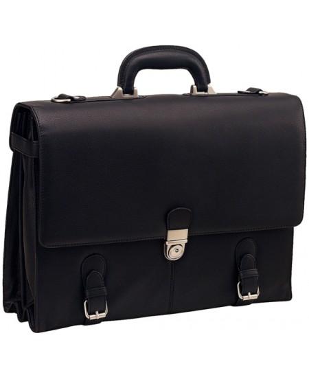 Krepšys BARCELONA, natūrali oda, juoda spalva